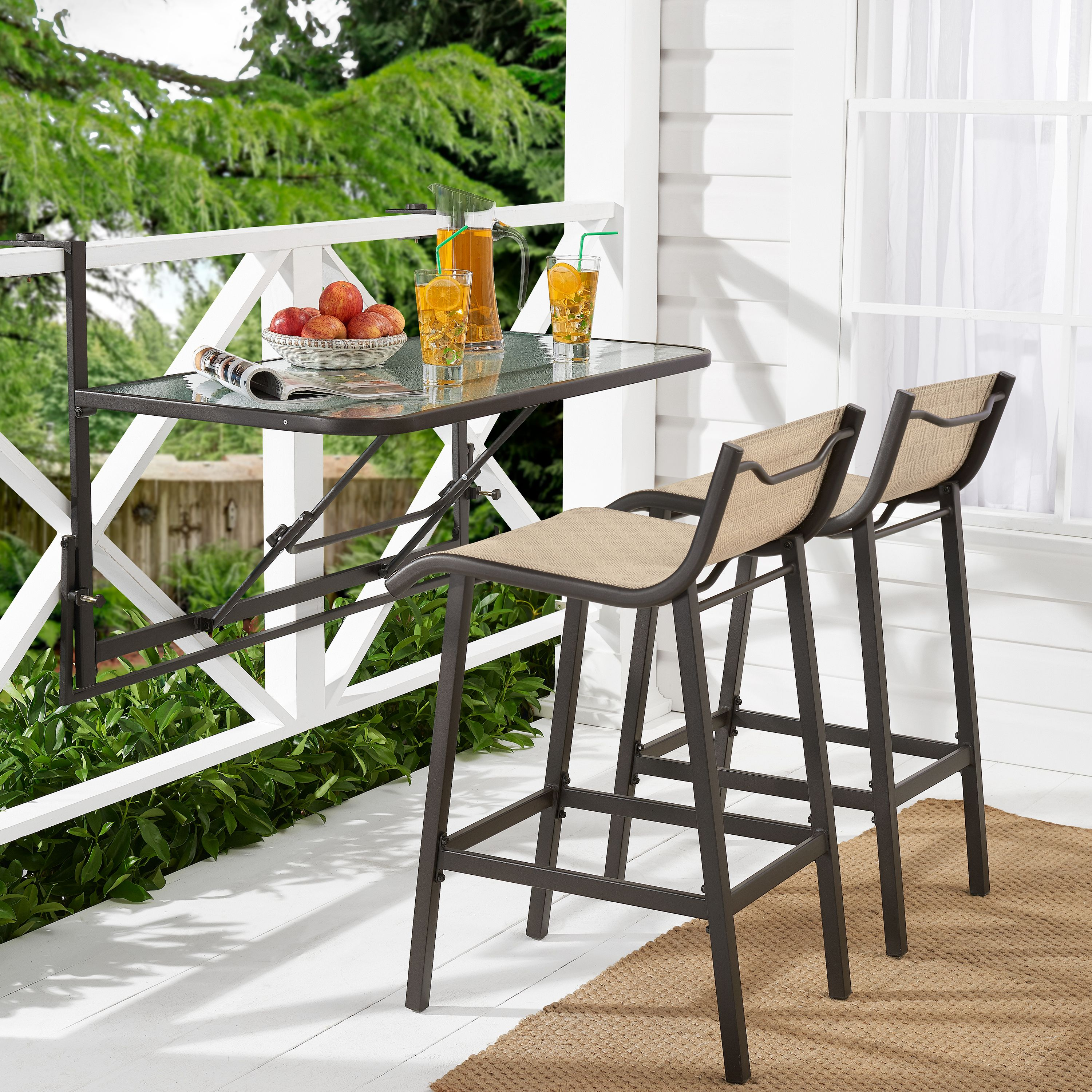 mainstays crowley park 3 piece outdoor bar set with fold down table