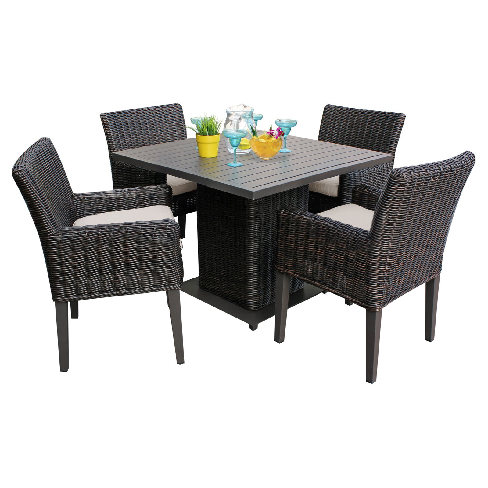 tk classics venice wicker 5 piece square patio dining set with 8 cushion covers