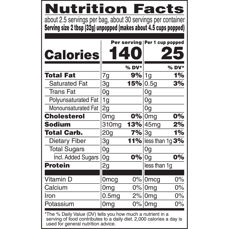 act ii microwave popcorn nutrition