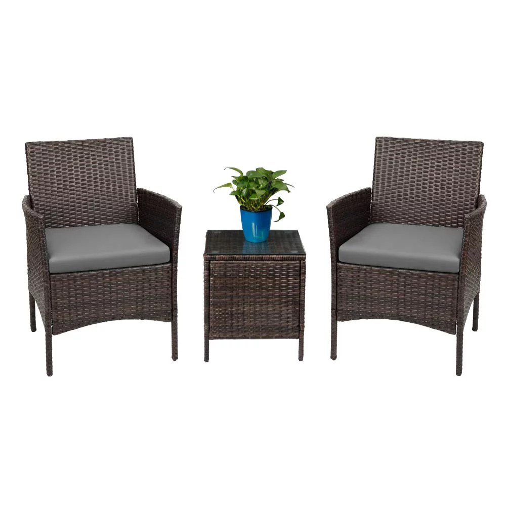 walnew 3 pcs outdoor patio furniture pe rattan wicker table and chairs set bar set with cushioned tempered glass gray walmart com