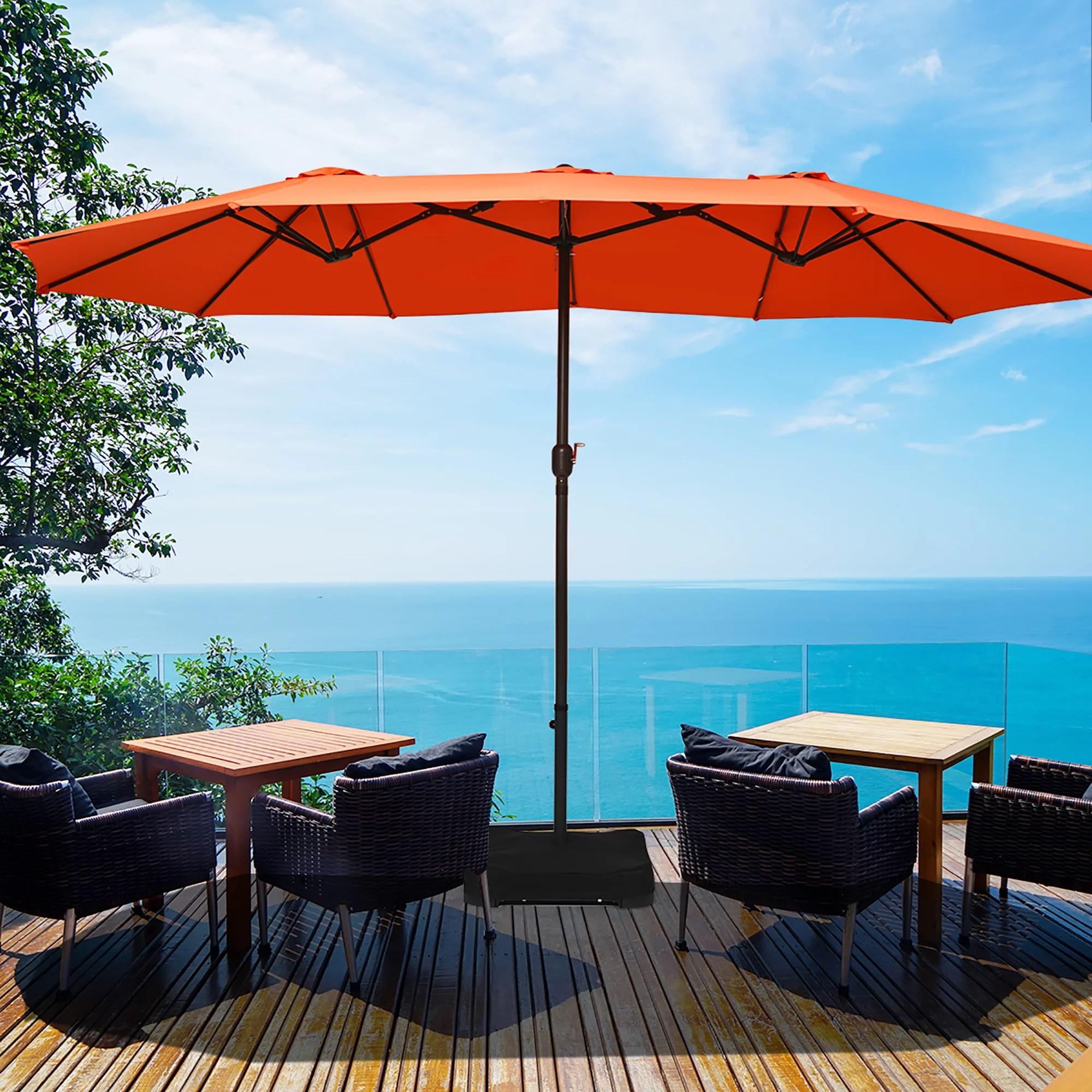 costway 15 ft patio double sided umbrella outdoor market umbrella beigetanorangeburgundy