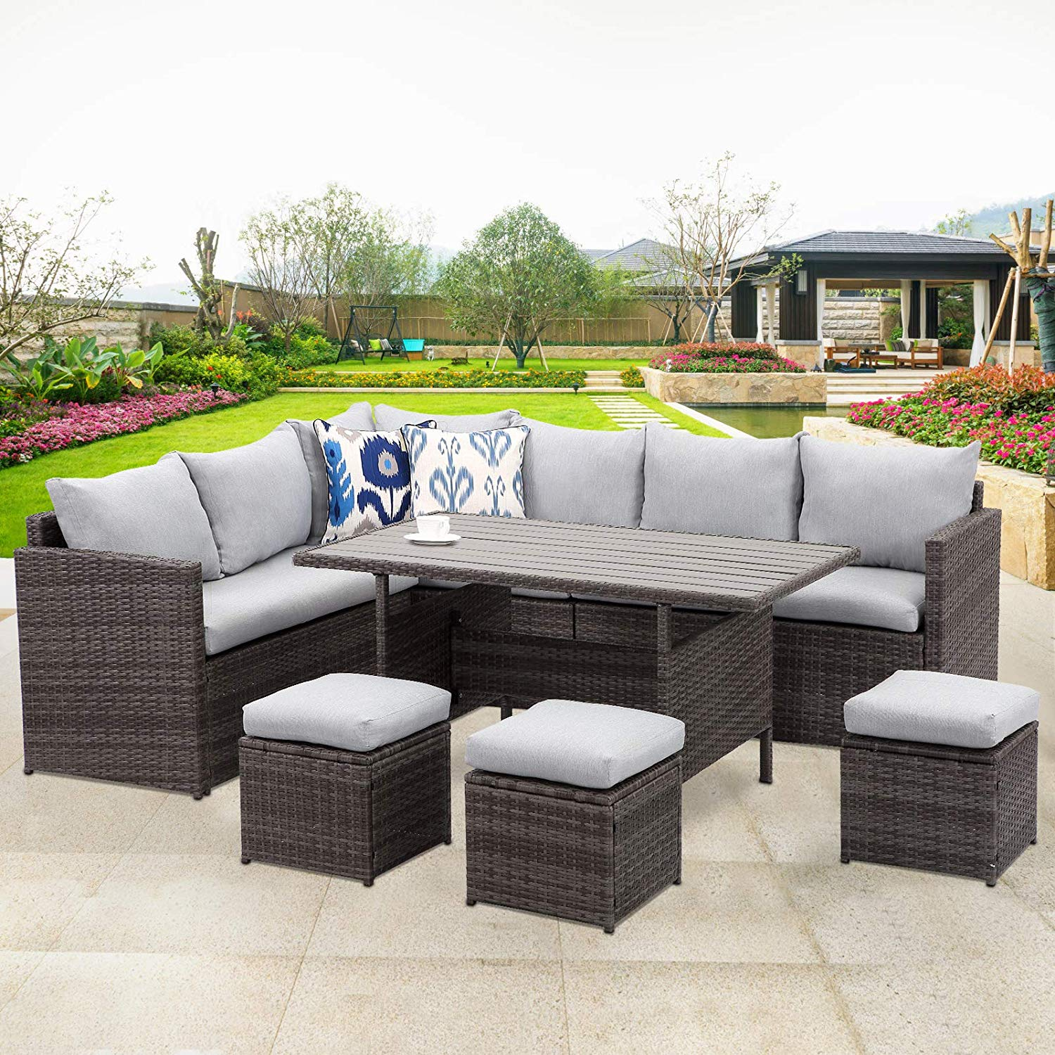7 piece outdoor conversation set all weather wicker sectional sofa couch dining table chair with ottoman grey