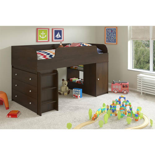 Elements Twin Wood Loft Bed With Dresser Amp Bookcase