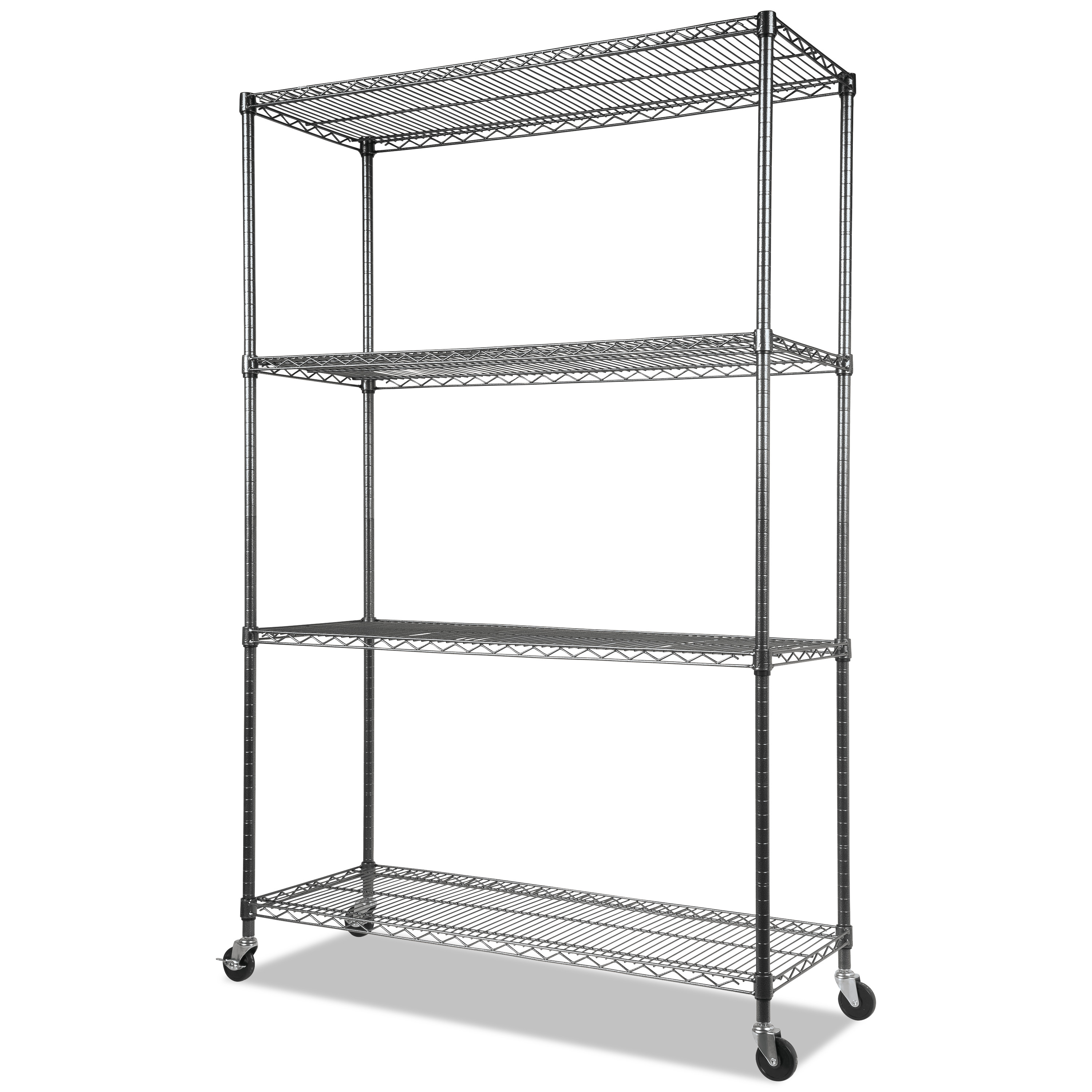 Alera Complete Wire Shelving Unit With Casters Four Shelf