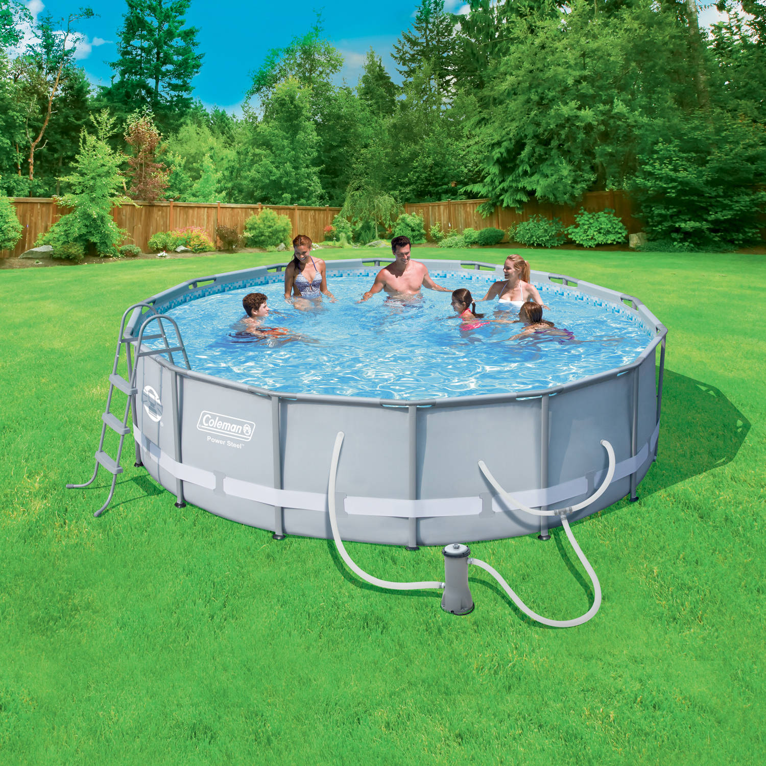 """Coleman Power Steel 14' x 42"""" Frame Pool Set With Filter Pump, Ladder, Cover and Maintenance Kit"""