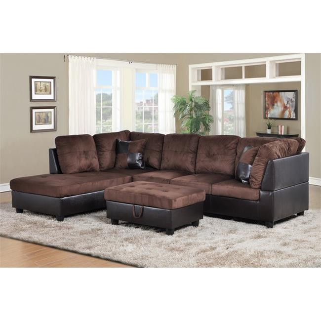 lifestyle furniture lf107a siano left hand facing sectional sofa brown 35 x 103 5 x 74 5 in walmart com