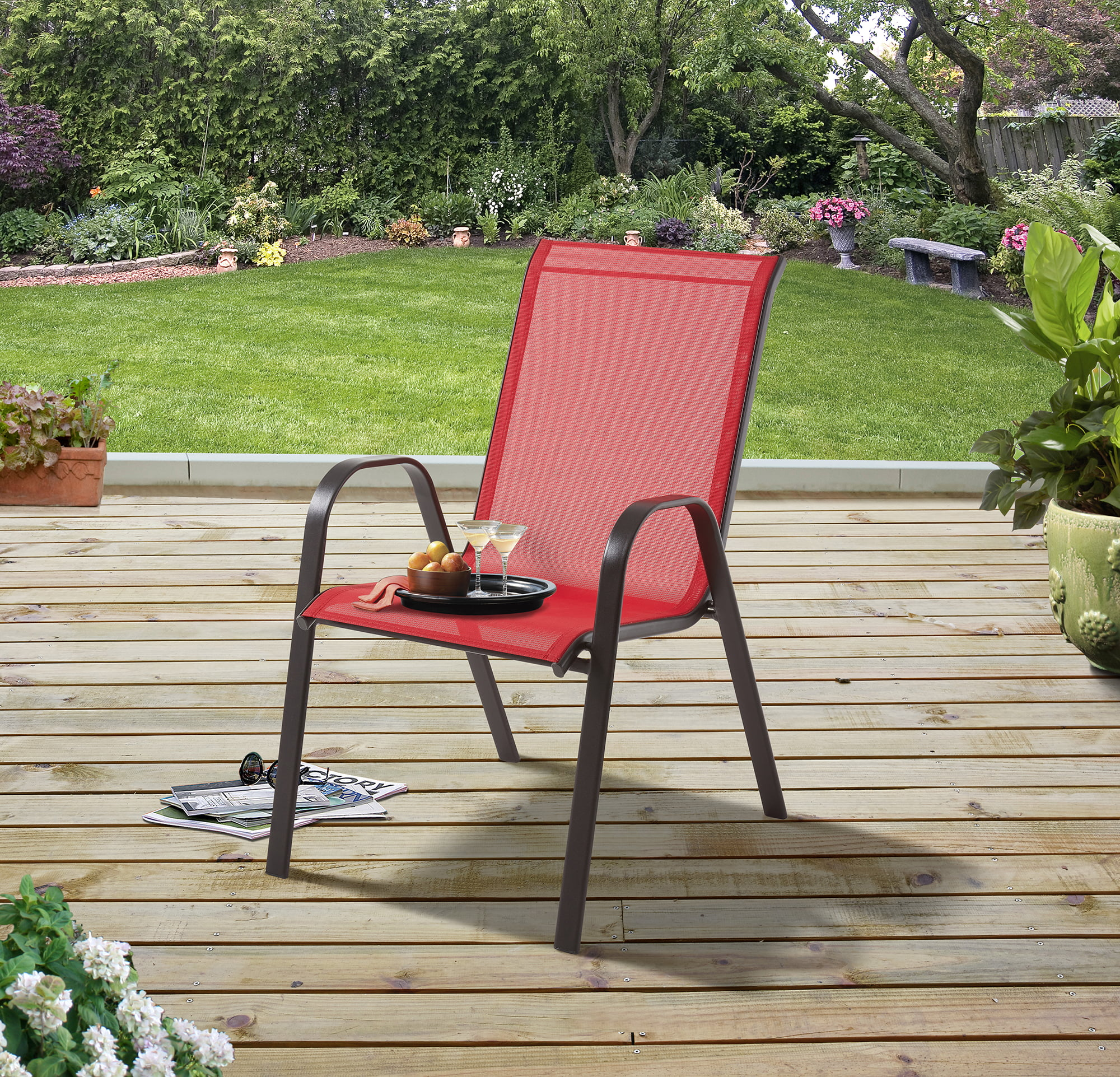 mainstays heritage park outdoor patio stacking sling chair tan