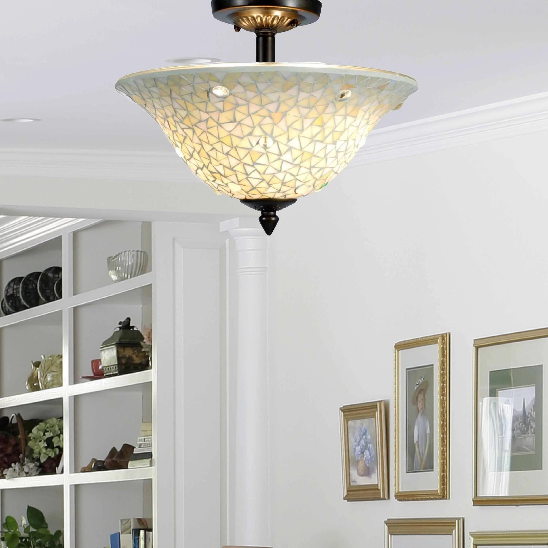 dale tiffany springdale 13 w jeweled white mosaic semi flush mount walmart com