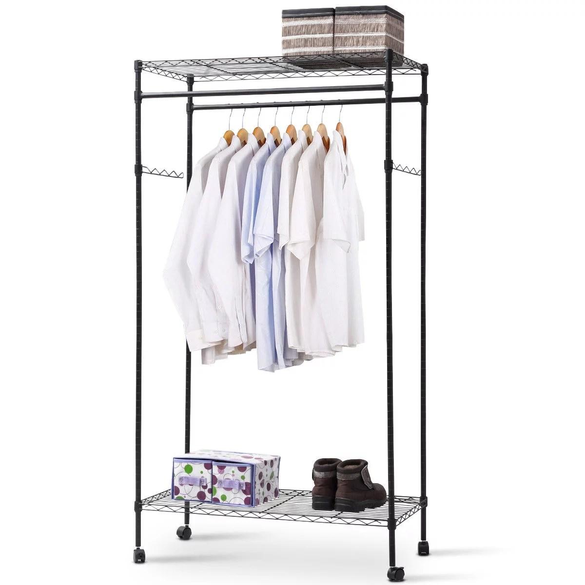 costway garment rack double hanging clothes rail rolling adjustable rod portable shelf