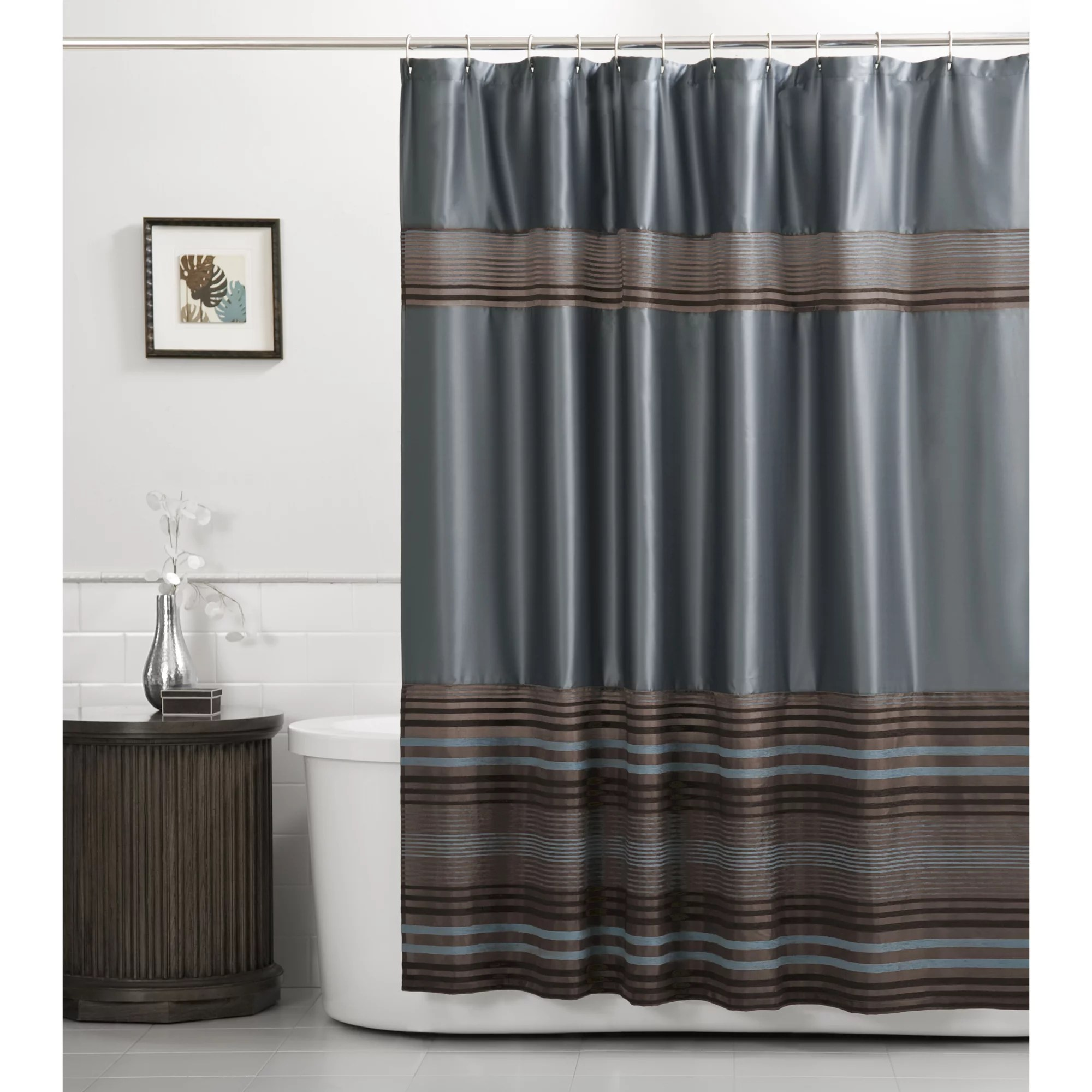 zenna home mark blue and brown stripe fabric shower curtain 70 x 72