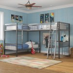 Furniture Of America Brando Triple Twin Bunk Bed With Desk Gray Silver Walmart Com Walmart Com