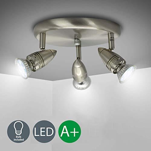 dllt flushmount ceiling track lighting kits 3 light multi directional ceiling spot lights fixture with gu10 bulbs for kitchen living room bedroom
