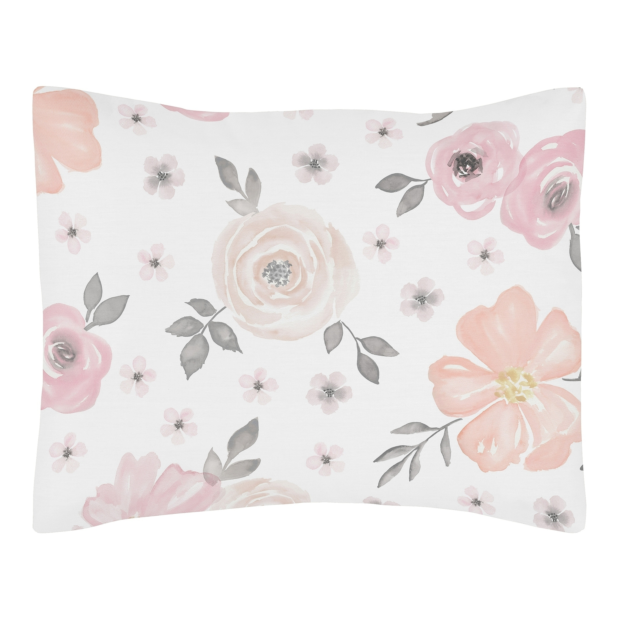 blush pink grey and white watercolor floral collection standard pillow sham