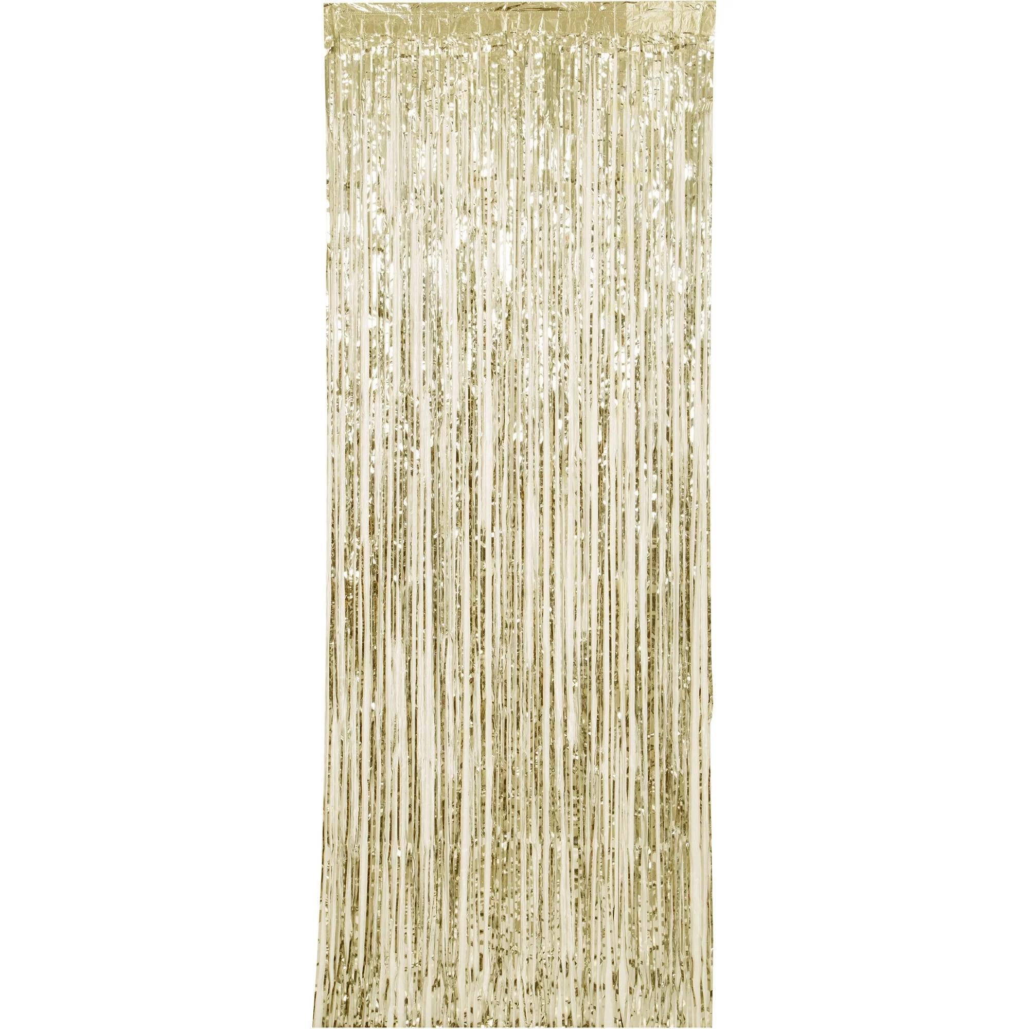 metallic gold foil fringe party door curtain 3ft x 8ft 1ct walmart com