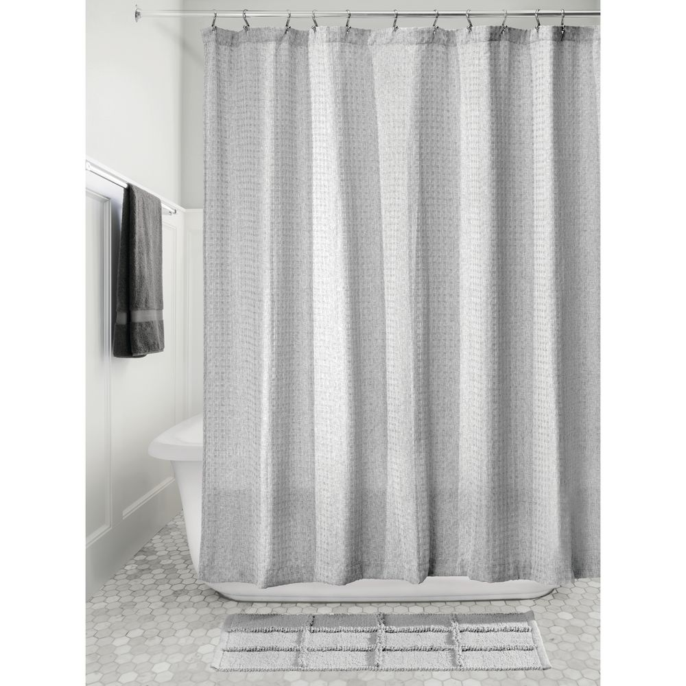 idesign waffle fabric shower curtain heathered gray
