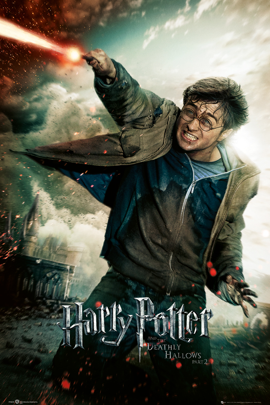 harry potter and the deathly hallows part 2 movie poster print regular style b harry with wand size 24 x 36