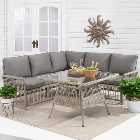 better homes gardens belfair 4 piece outdoor wicker sectional dining set with gray cushions
