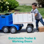 Semi Truck And Trailer Ride On Toy By Kid Trax Blue Rig Walmart Com Walmart Com