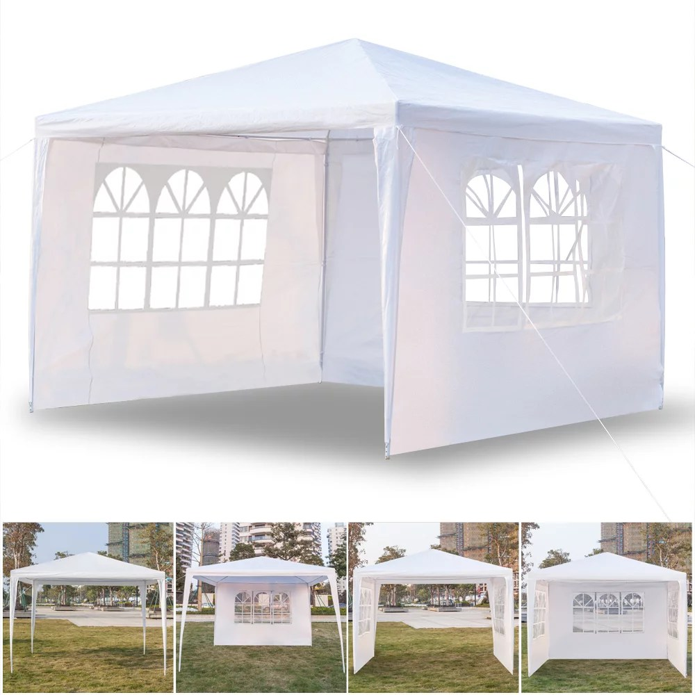 patio gazebos tent with 3 side walls 10 x 10 white outdoor party wedding tent 2021 upgraded backyard canopy tent for outside waterproof gazebo