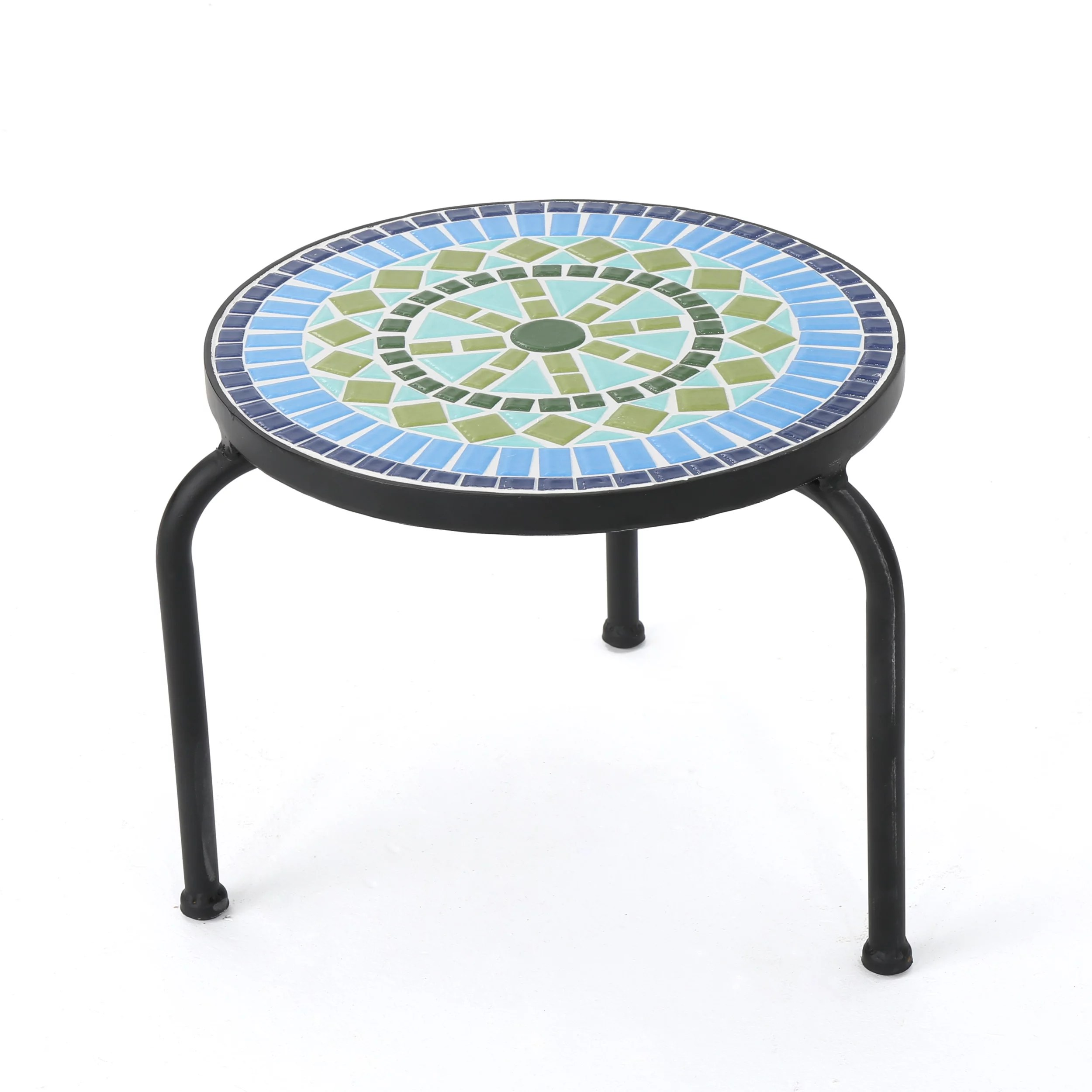 isildur outdoor ceramic tile side table with iron frame blue and green