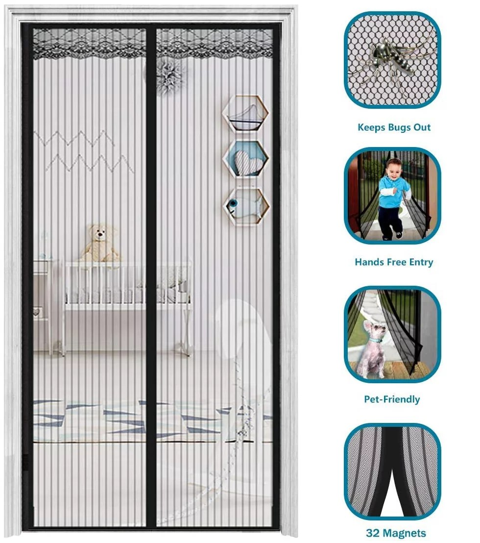 2020 upgraded magnetic screen door w 32 magnets heavy duty mesh curtain door mesh screen magnetic door screen net full frame seal hands free pets kid