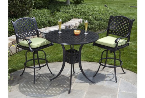 nassau cast aluminum 3pc outdoor patio bar set with 42 round bar table