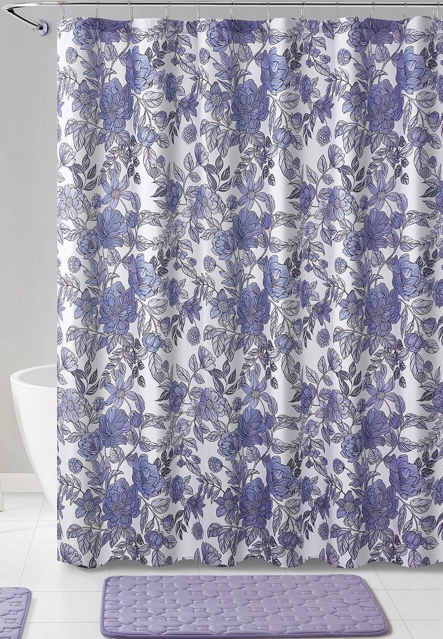 purple flower shower curtain for bathroom modern large print design