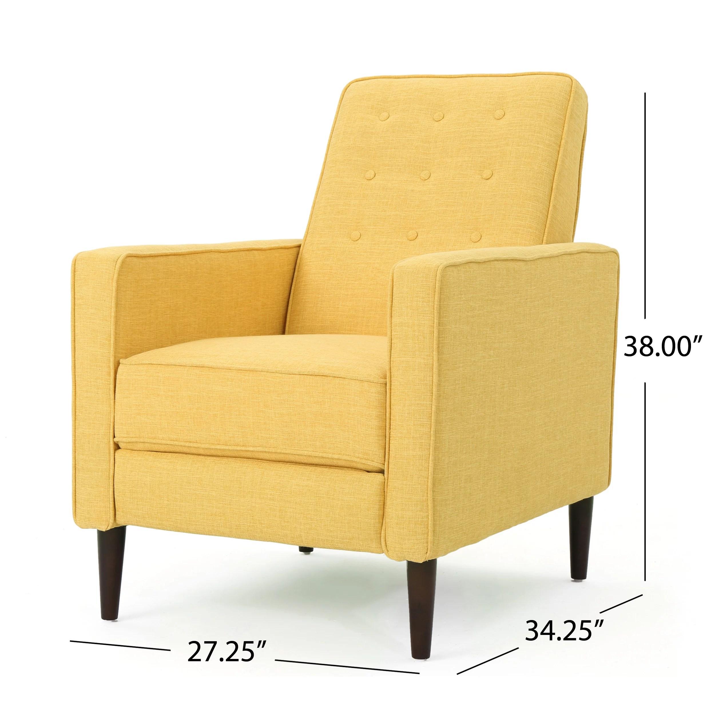 Noble House Mercury Mid Century Modern Fabric Recliner Yellow Walmart Com Walmart Com