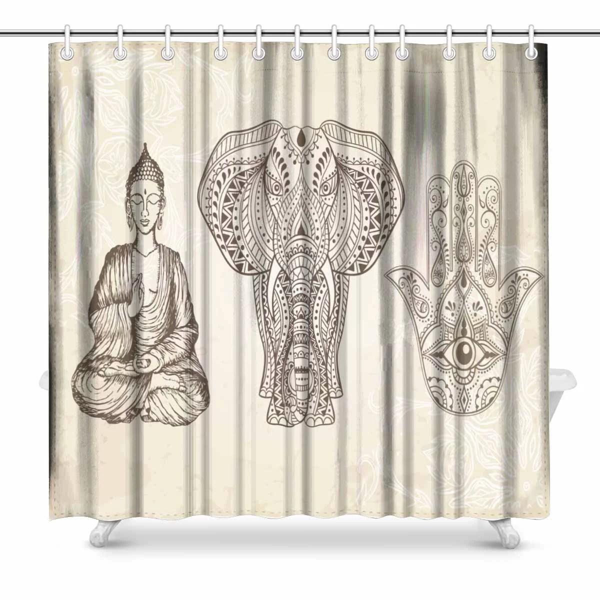 pop hand hamsa all seeing eye elephant buddha bathroom shower curtain set 66x72 inch