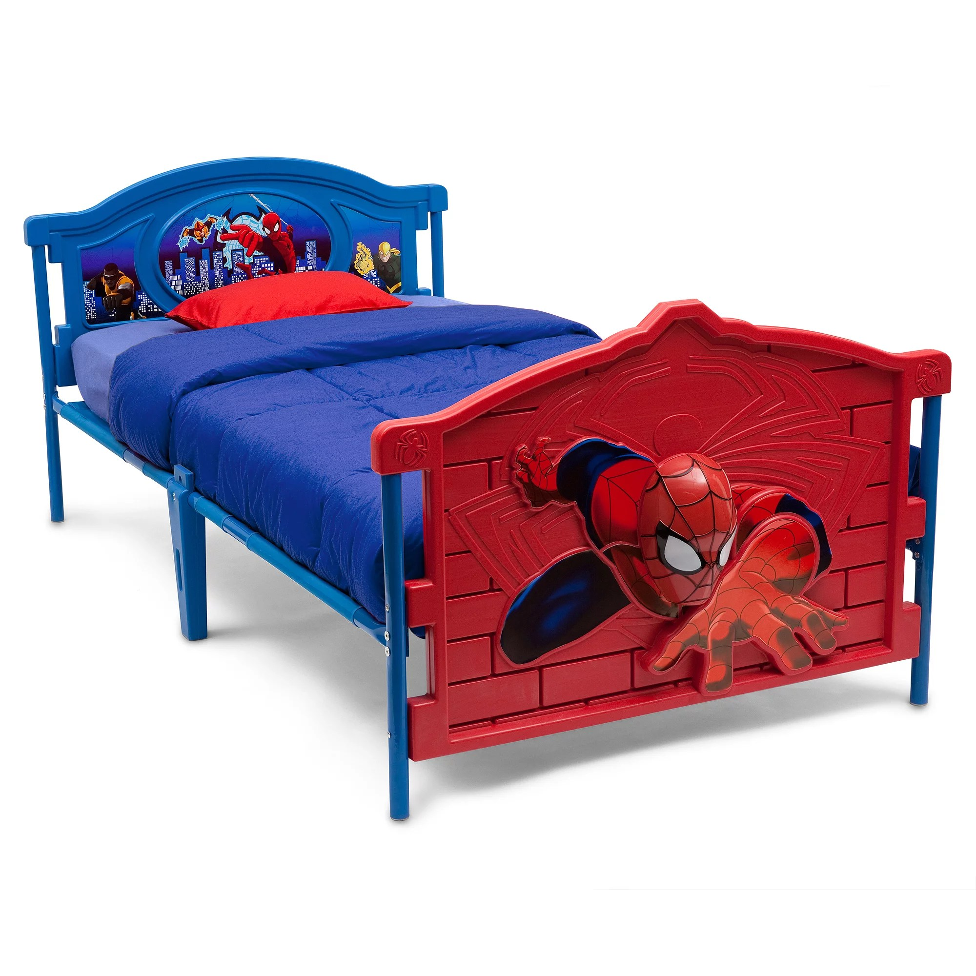 Delta Children Marvel Spider Man 3d Plastic Twin Bed Red Walmart Com Walmart Com