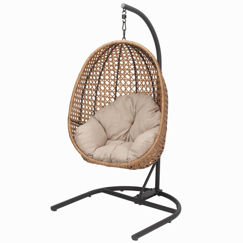 better homes gardens lantis patio wicker hanging chair with stand and beige cushion maximum weight 250lbs walmart com