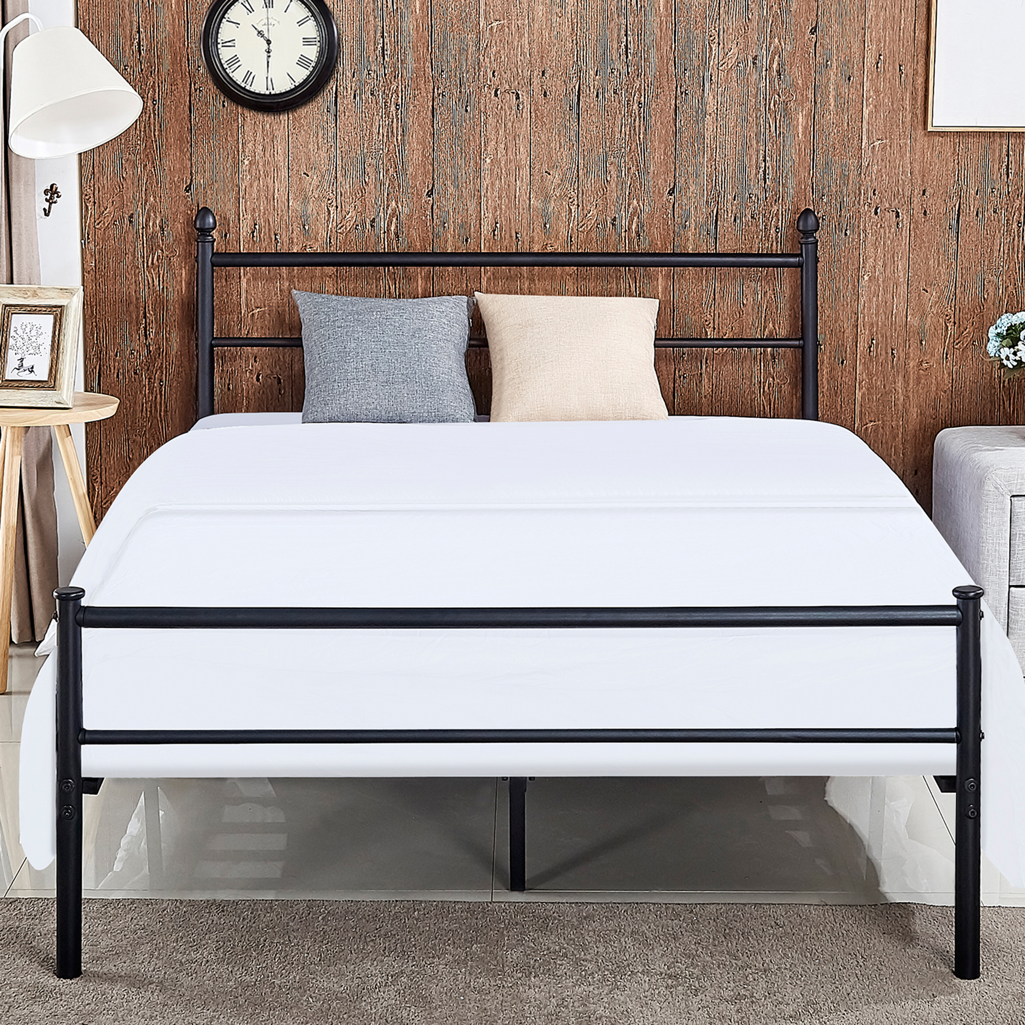 metal platform queen bed frame bed box spring replacement with headboard