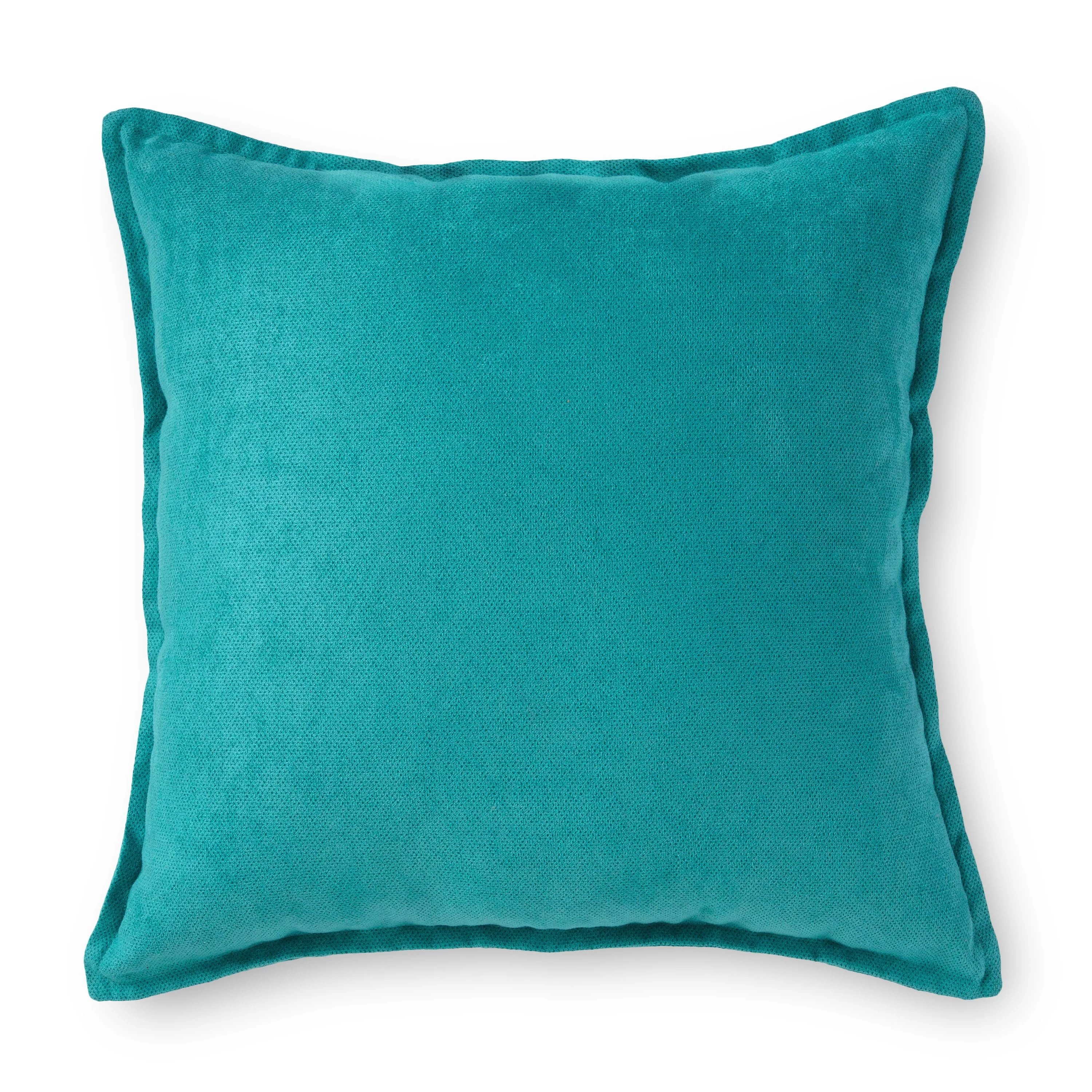 mainstays faux suede decorative square throw pillow with flange 18 x 18 peacock walmart com