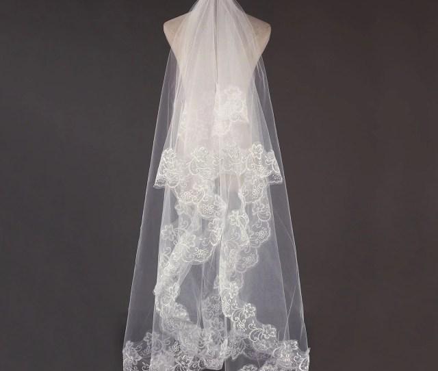 M Bridal Wedding Long Veil Long Bridal Veils Cathedral Elegant Lace Applique Edge Floor