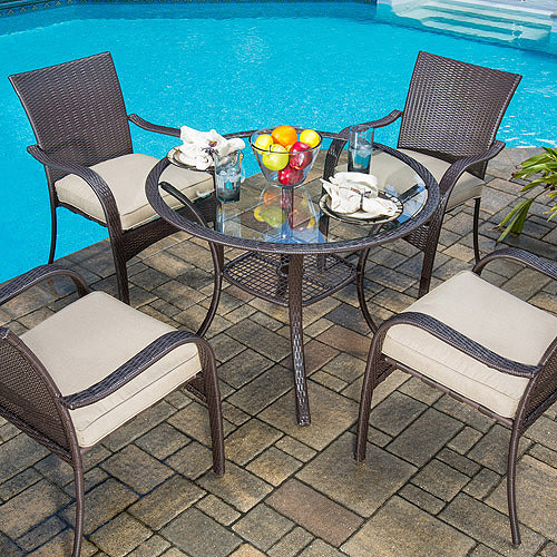 walmart wicker patio furniture sets Mainstays Wicker 5-Piece Patio Dining Set, Seats 4