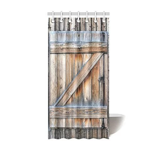 mypop rustic country barn wood door shower curtain farmhouse old wooden garage door digital printing polyester antique theme bathroom with adjustable