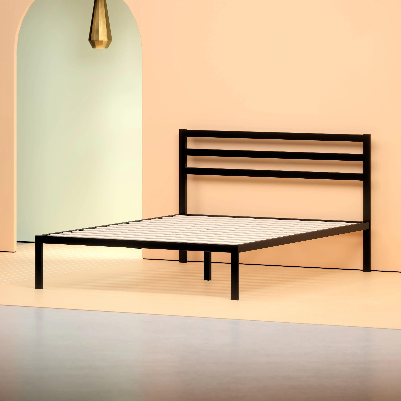 Zinus Mia 38 Black Metal Platform Bed With Headboard Queen Walmart Com Walmart Com