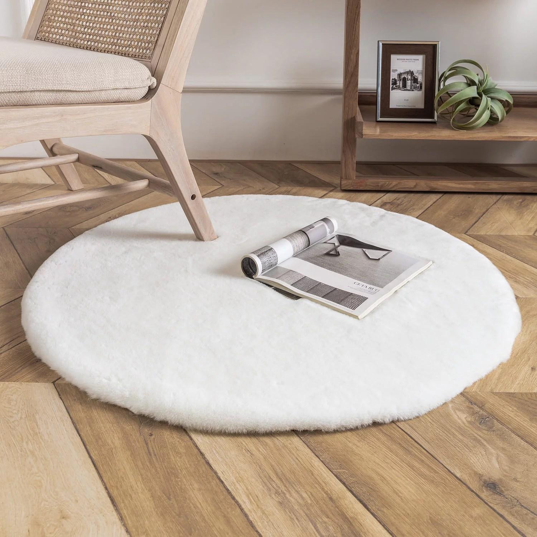 Phantoscope Deluxe Soft Faux Rabbit Fur Series Decorative Indoor Area Rug 3 X 3 Feet Round White 1 Pack Walmart Com Walmart Com