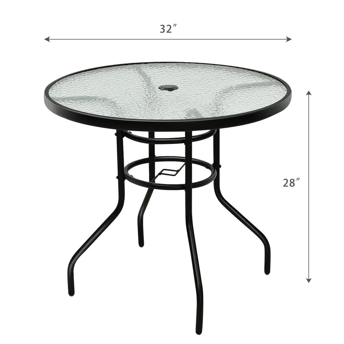 31 5 patio round table tempered glass steel frame outdoor pool yard