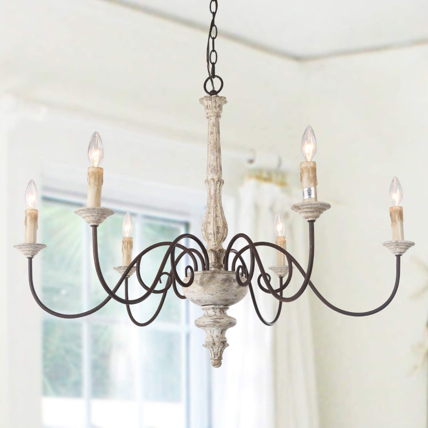 lnc farmhouse kitchen island lighting french country chandelier for dining room white distressed wood 37 l x 28 h walmart com