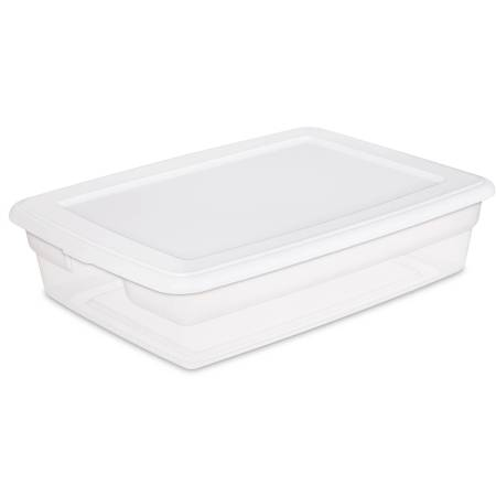 Sterilite 28-quart clear tote with a lid.