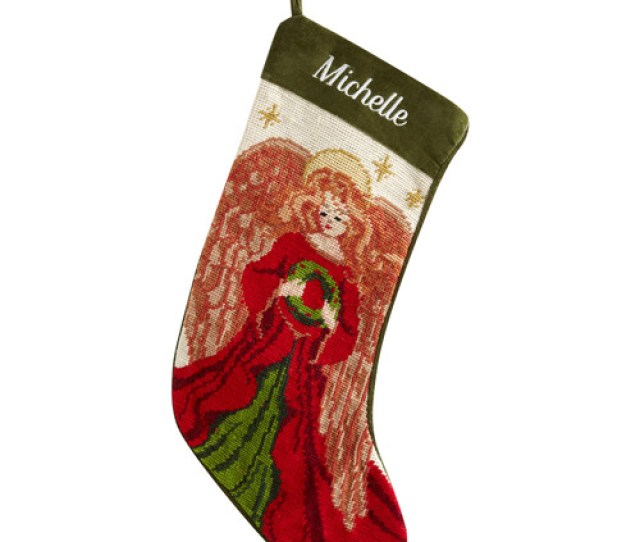 Personalized Needlepoint Christmas Stocking Angel