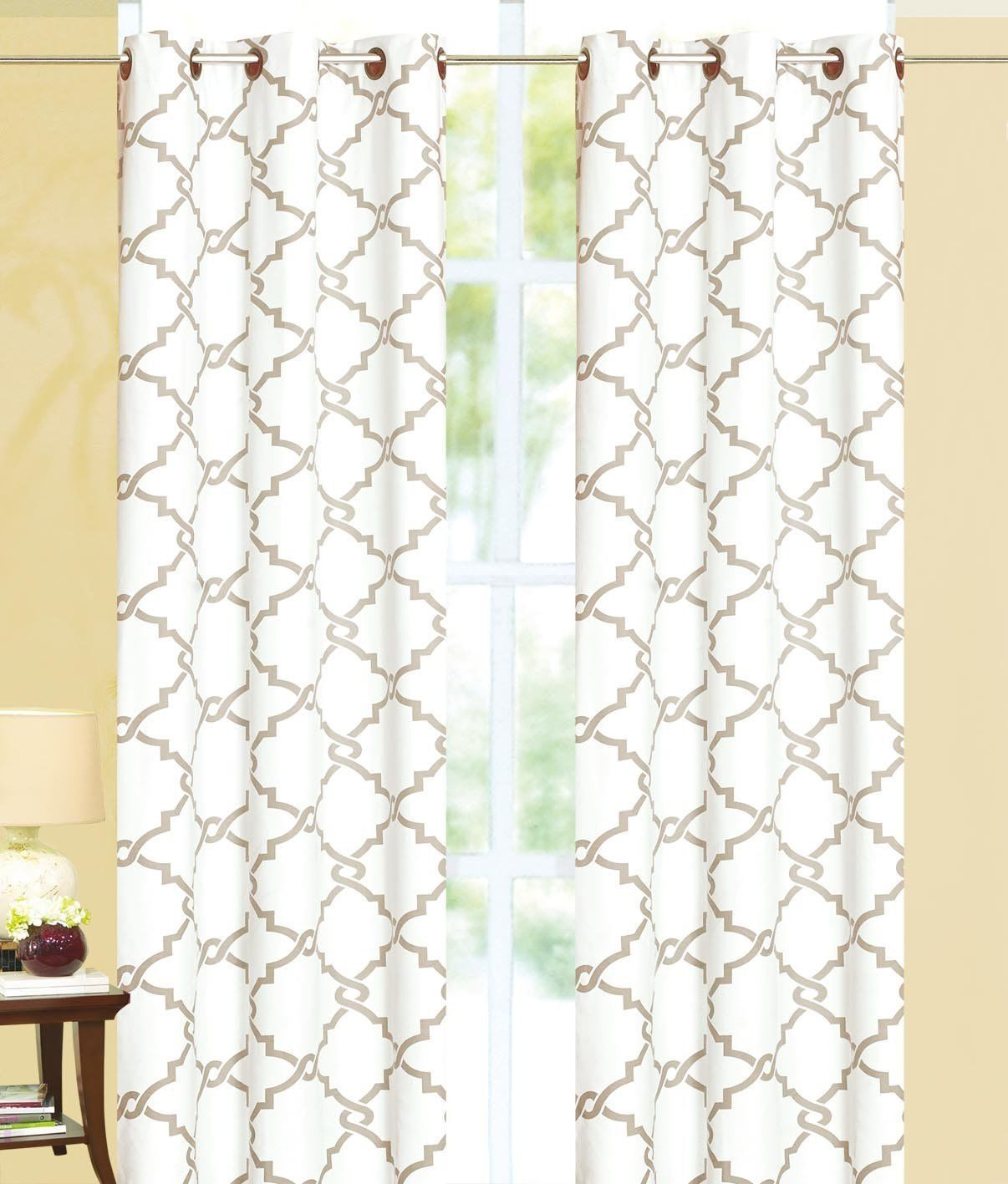 geometric modern print insulated 100 thermal blackout window grommet curtain panel 108 white taupe walmart com