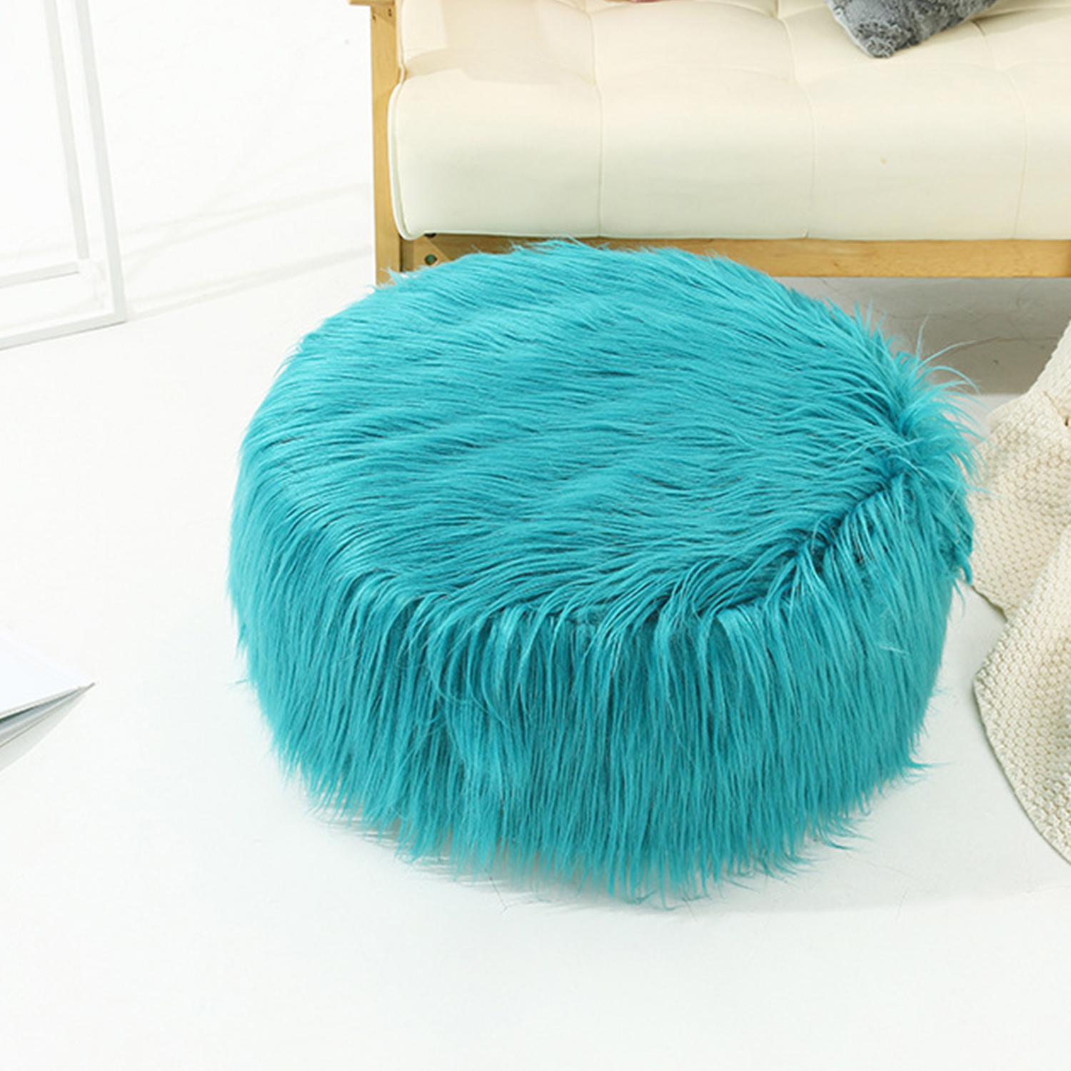 faux fur inflatable chair sofa stool pluffy foot rest footstool for women girls living room home bedroom 20x10 inch decorative seating chair with