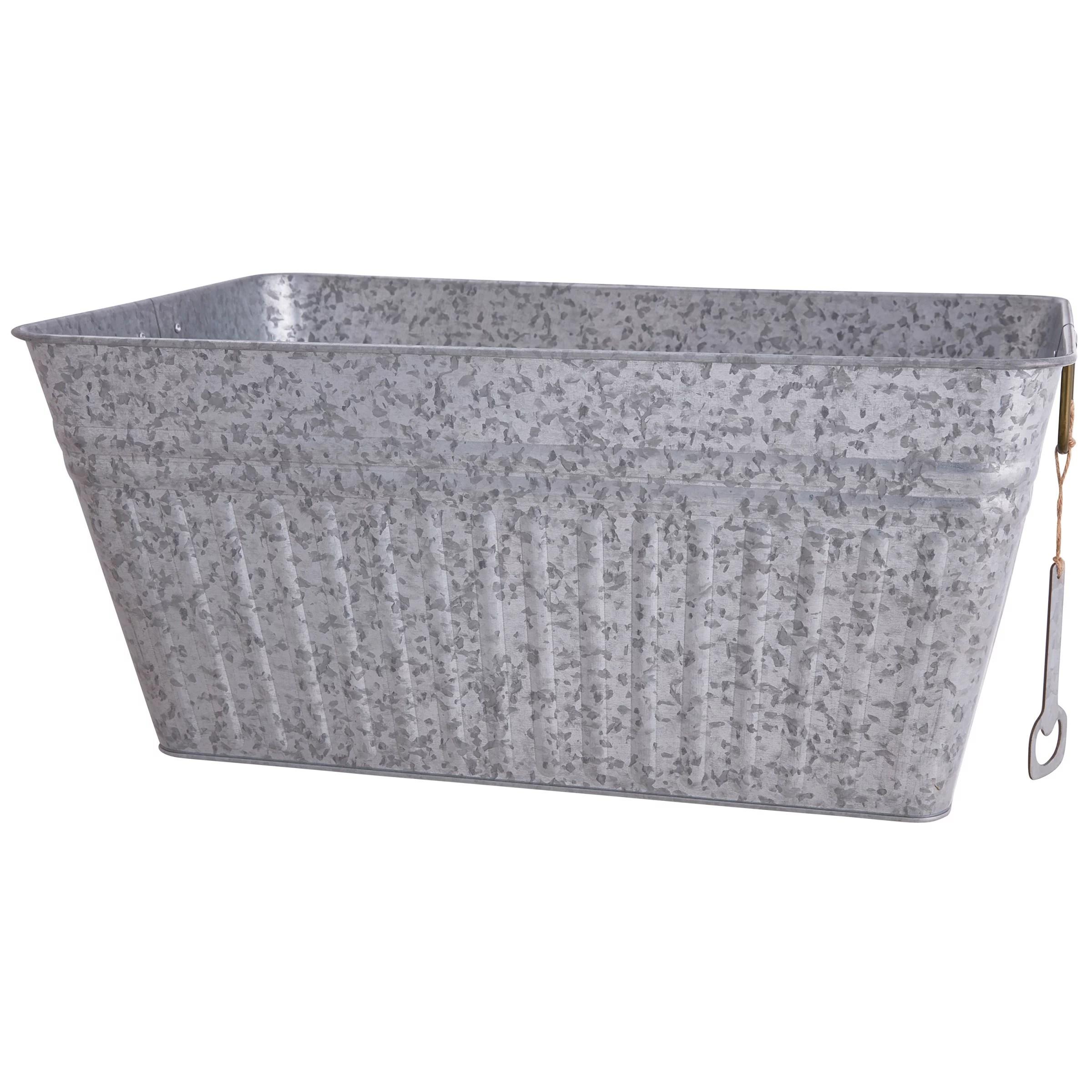better homes gardens large rectangular galvanized tub walmart com