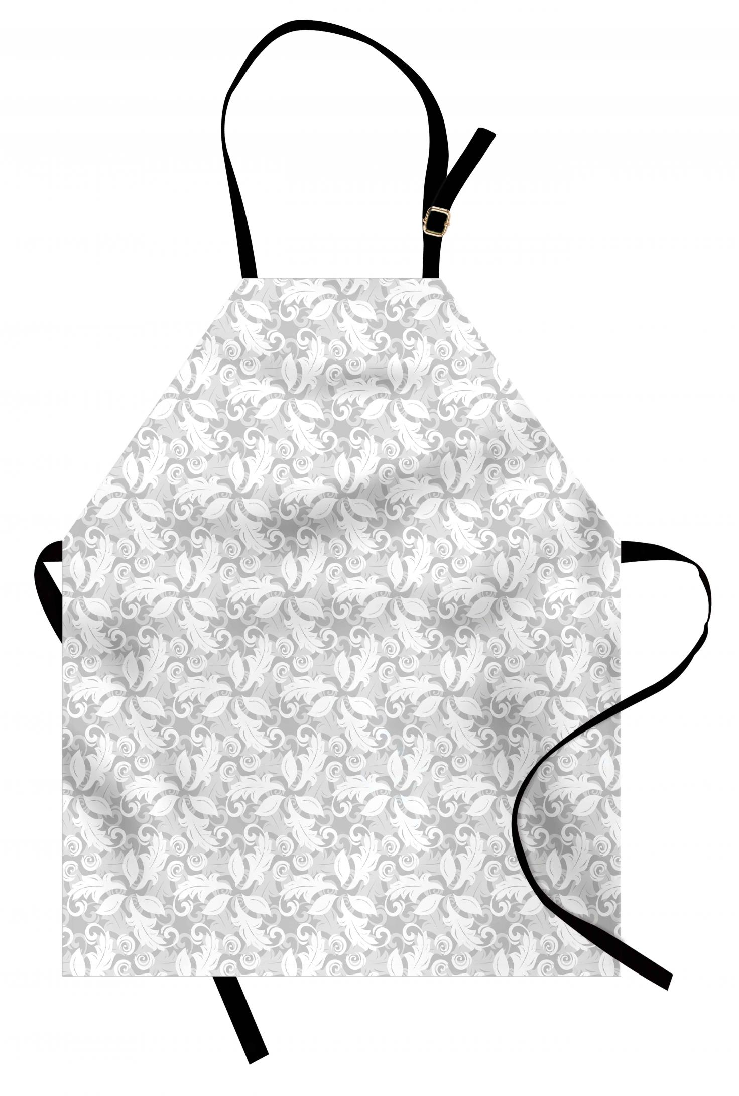 Grey Apron Swirled Blossom Leaves Kitsch Exquisite Nature
