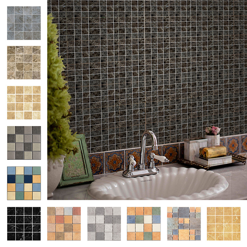 10pcs 3d mosaic tile stickers wall sticker art decals self adhesive crystal film