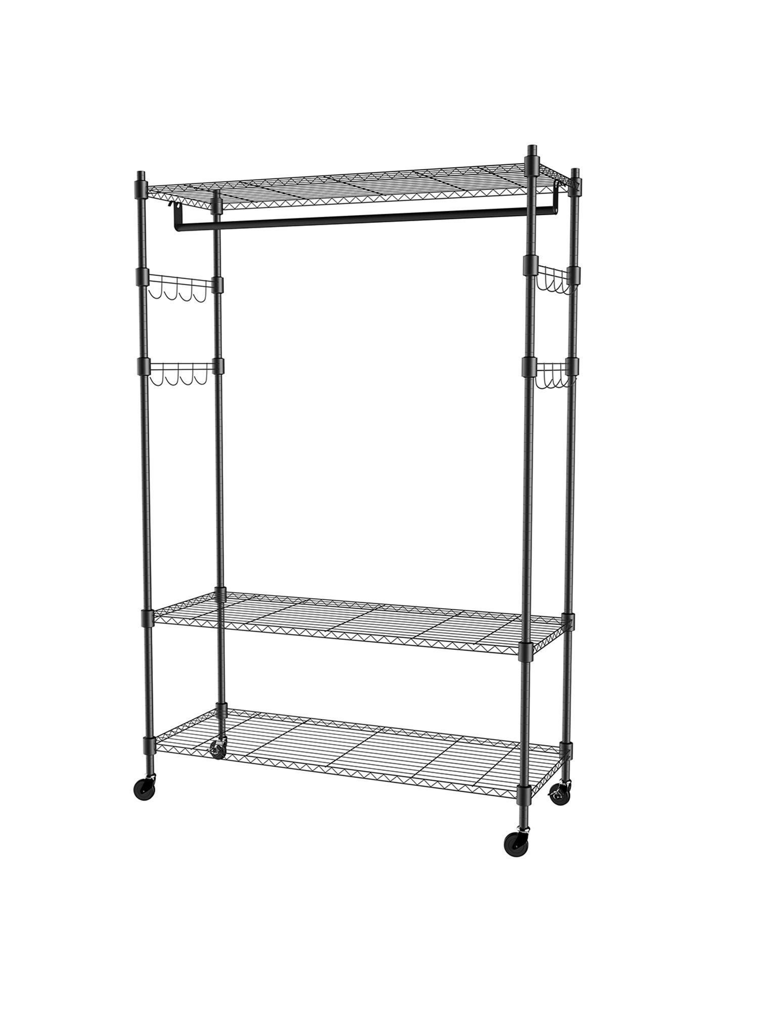 3 tier rolling closet garment rack with double rod lockable wheels and side hooks heavy duty clothes rack closet storage organizer us stock
