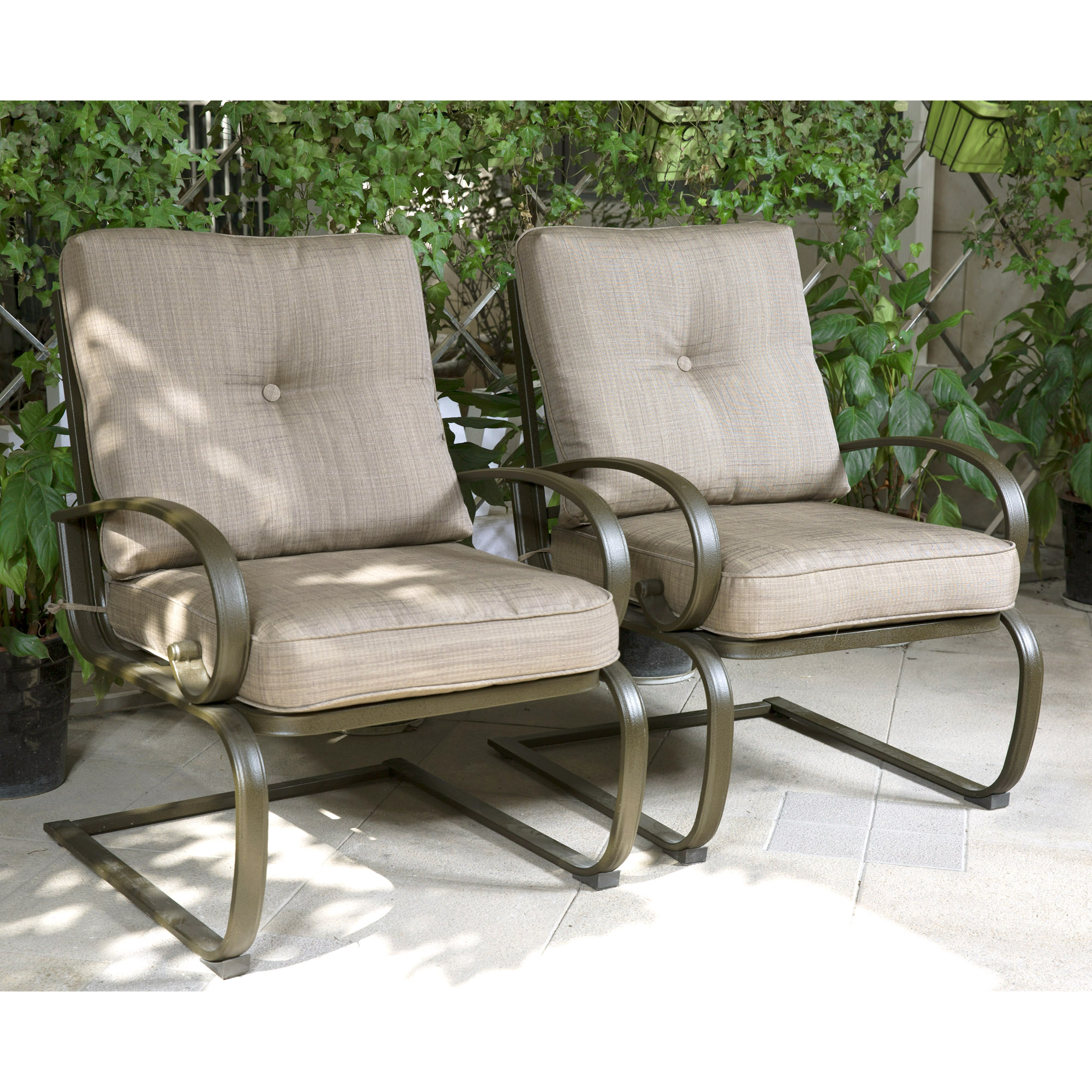 finefind set of 2 club chairs outdoor patio wrought iron dining chairs garden furniture seating chairs set gradient brown cushion