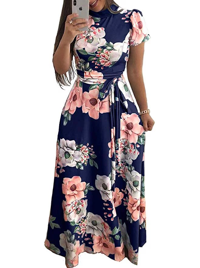women s floral maxi dress short sleeve maxi long dresses